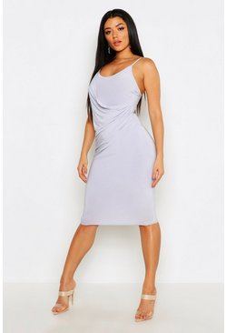 Womens Ice Strappy Draped Slinky Midi Dress