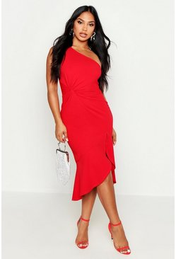 Womens Red One Shoulder Knot Front Frill Midi Dress