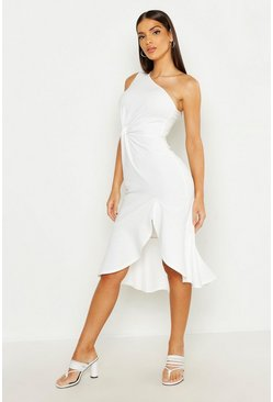 White One Shoulder Knot Front Frill Midi Dress