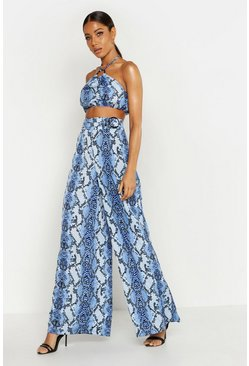 Womens Blue O Ring Belted Snake Print Wide Leg Pants