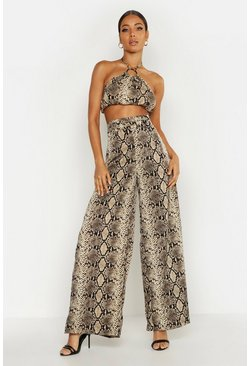 Natural O Ring Belted Snake Print Wide Leg Trouser