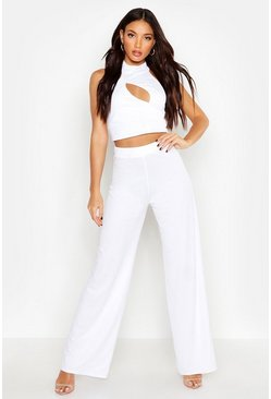 Womens White Cut Out High Neck Top & Wide Leg Pants Co-Ord