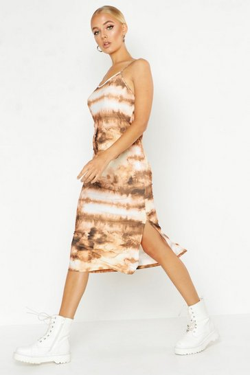 Womens Orange Tie Dye Satin Slip Midi Dress