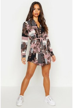 Womens Pink Paisley Shirt Dress