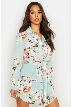 Womens Mint Floral Shirt Dress
