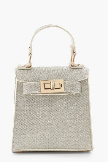 Womens Silver Shimmer Mini Grab Bag