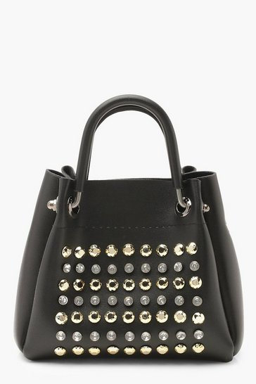 Womens Black Mini Stud Diamante Front Grab Bag
