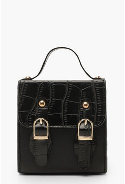 Womens Black Croc Micro Mini Buckle Detail Cross Body Bag