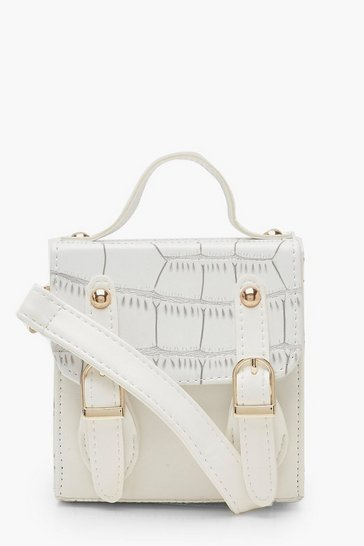 Womens White Croc Micro Mini Buckle Detail Cross Body Bag