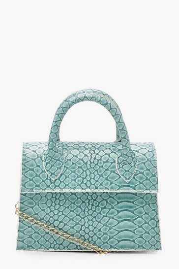 Womens Mint Mini Croc Structured Cross Body Bag