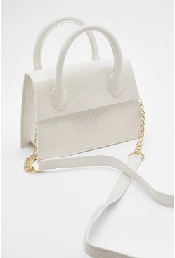 White Mini Croc Structured Cross Body Bag