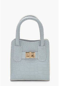Womens Pale blue Croc Lock Mini Grab Bag