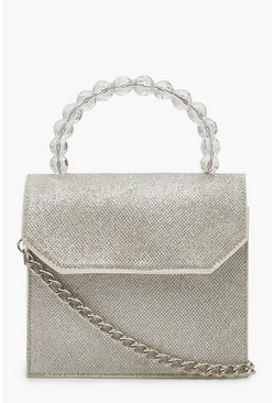 Womens Silver Bead Handle Mini Shimmer Cross Body Bag