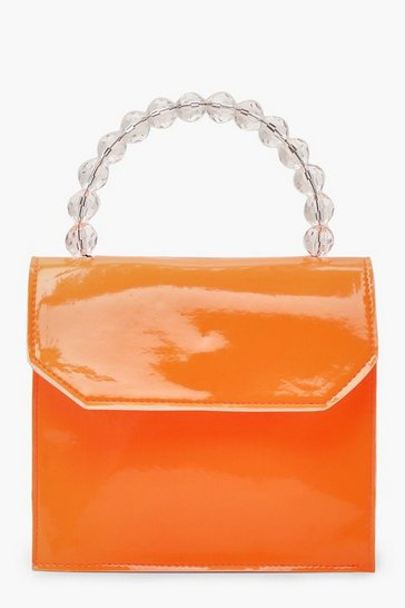 Womens Neon-orange Bead Handle Neon Mini Cross Body Bag