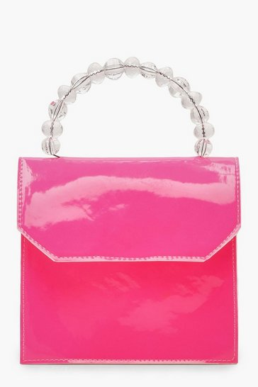 Womens Neon-pink Bead Handle Neon Mini Cross Body Bag