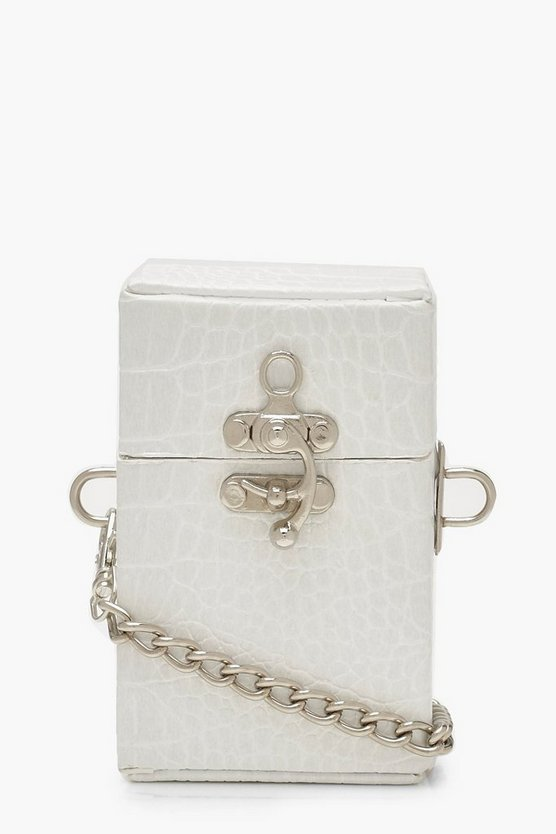 Womens White Premium Mini Box Cross Body Bag