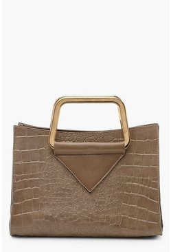 Womens Mocha Croc Metal Handle Mini Tote Bag