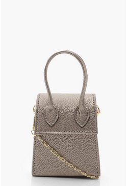 Womens Silver Teeny Tiny Metallic Cross Body Bag