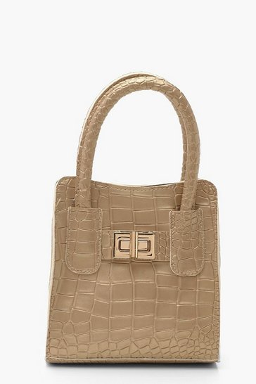 Womens Gold Metallic Croc Mini Lock Grab Bag