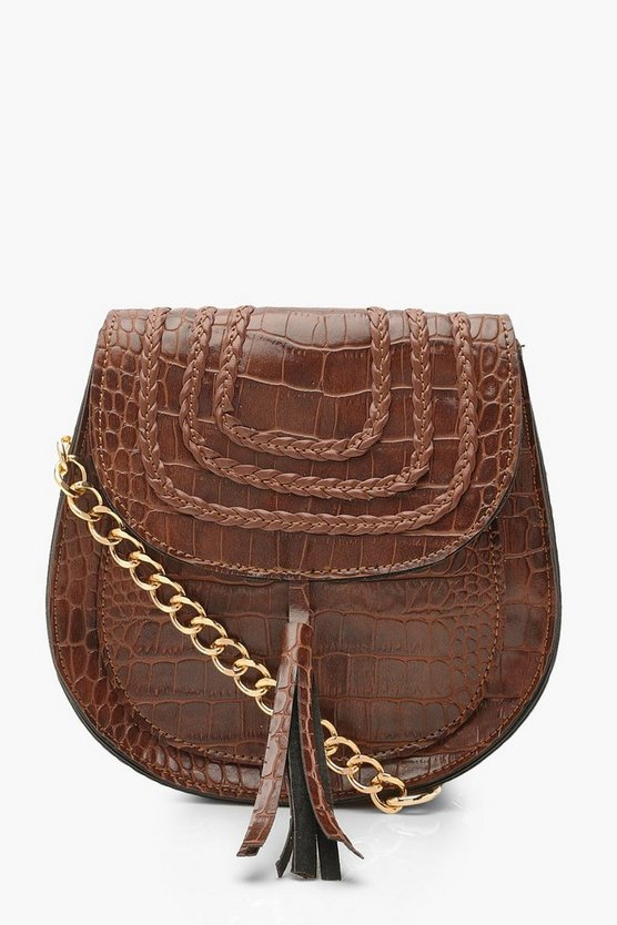 Womens Tan Croc Tassel Cross Body Bag