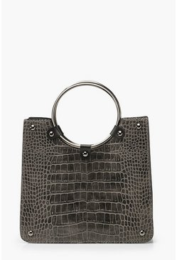 Womens Grey Croc Mini Metal Circle Handle Tote Bag