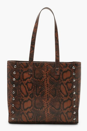Womens Brown Snake Structured Stud Tote Day bag