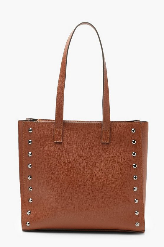 Structured Stud Tote Day Bag by Boohoo