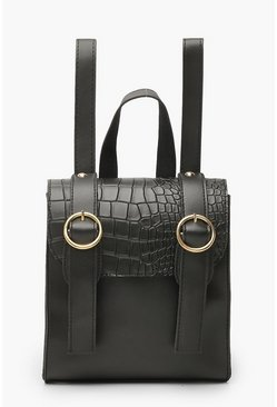 Womens Black Croc Mini Double Buckle Rucksack