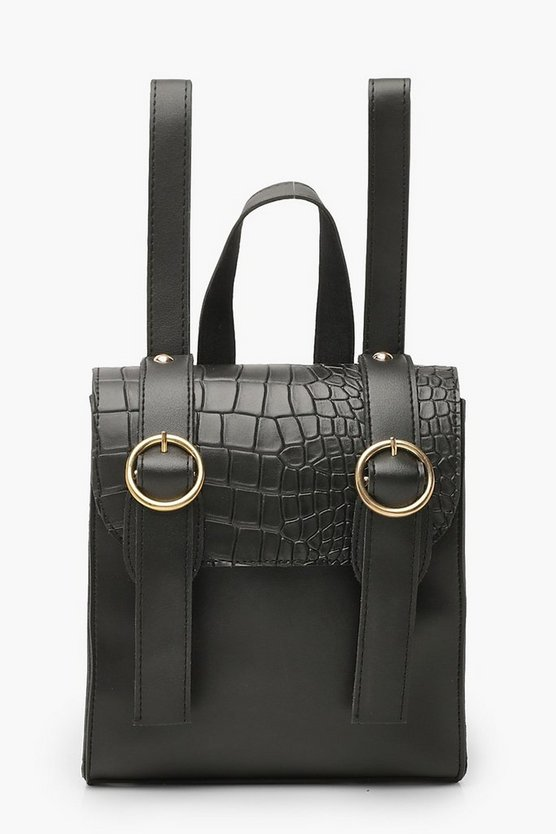 Croc Mini Double Buckle Rucksack Croc Mini Double Buckle Rucksack by Boohoo