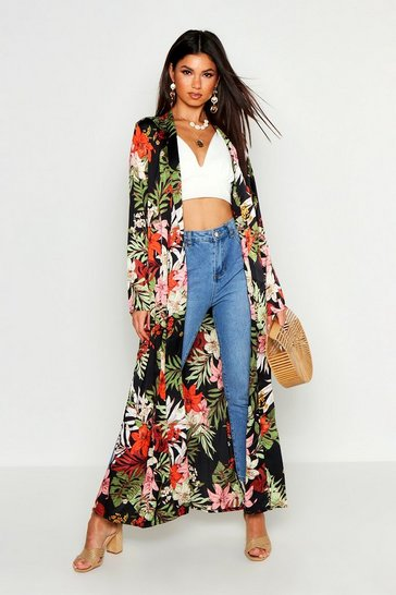 Womens Black Satin Tropical Print Kimono