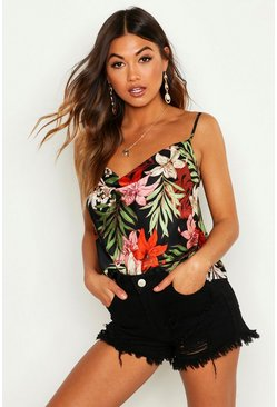 Womens Black Satin Tropical Print Cowl Camisole