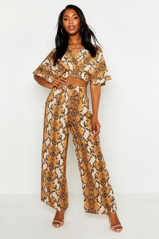 Womens Mustard Snake Print Wide Leg Trousers