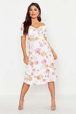 Floral Bardot Twist Midi Skater Dress