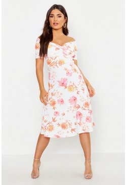 Womens White Floral Bardot Twist Midi Skater Dress