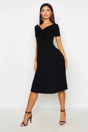 Twist Bardot Midi Skater Dress