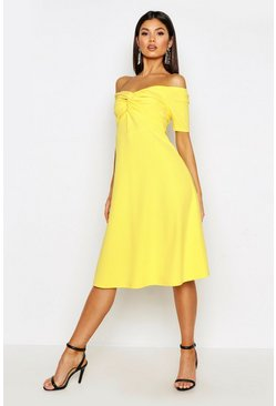 Womens Bright yellow Twist Bardot Midi Skater Dress