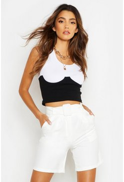 Womens Ivory The Tailored Belted City Short