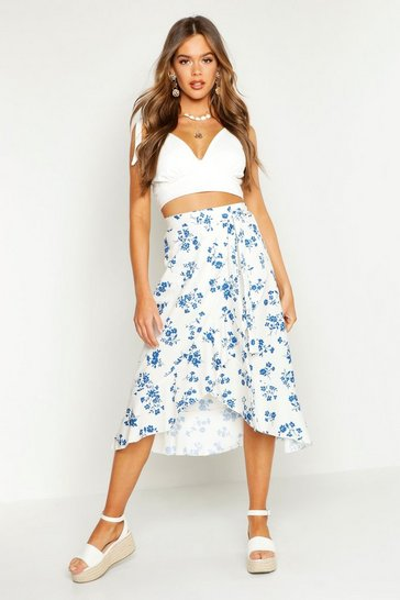 Womens White Floral Wrap Tie Midi Skirt