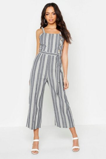Womens Blue Linen Stripe Button Side Culotte Jumpsuit