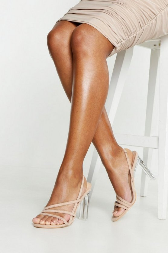 Womens Beige Clear Flat Heel Sling Backs