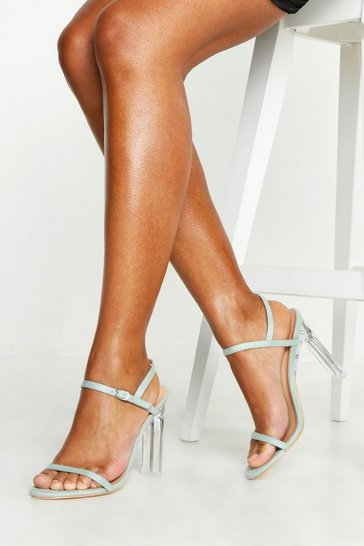Turquoise Flat Clear Heel 2 Parts