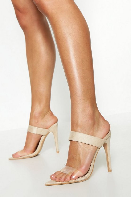 Nude Clear Strap Pointed Toe Mules