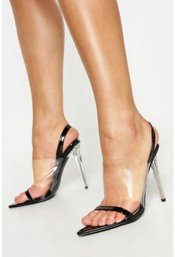 Womens Black Clear Panel Pointed Sling Back Heels