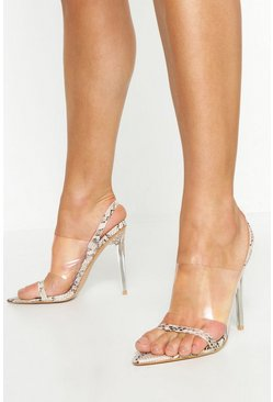 Natural Clear Panel Pointed Sling Back Heels