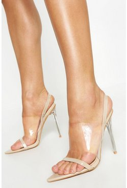 Nude Clear Panel Pointed Sling Back Heels