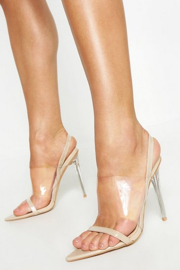 Womens Nude Clear Panel Pointed Sling Back Heels