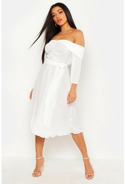Womens White Ruched Off Shoulder Tie Detail Midi Skater Dress