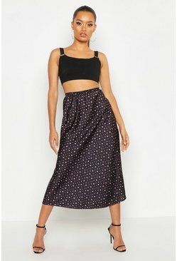Womens Black Star Print Satin Bias Cut Midi Skirt