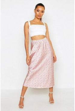 Womens Blush Star Print Satin Bias Cut Midi Skirt