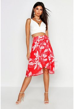 Womens Red Floral Wrap Tie Midi Skirt